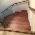 Walnut and glass stairs